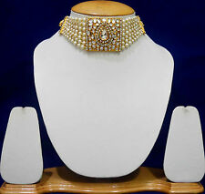 Kundan Indian Ethnic Bridal Peral Choker Necklace Fashion Jewellery Sets WN112