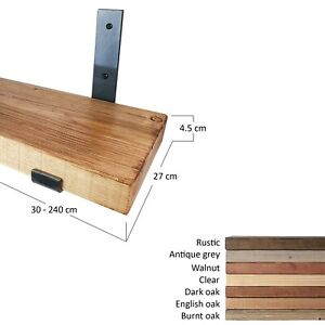 Wood Shelf With Industrial Style Raw Steel Lacquered Brackets. 27cm depth.