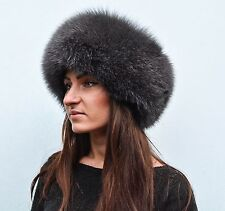 Saga Furs Granite Gray Fox Fur & Black Suede Leather Women's Winter Roller Hat