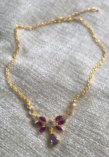 Vintage Vidrio Y Metal Púrpura Collar cadena extensor de gota