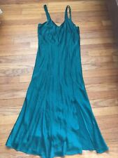Venchelle Vintage Emerald Green SILK Long Slit Night Gown Lingerie Pajama Small