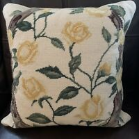 Vintage Needlepoint Decorative Pillow Garden Yellow Roses Vine W/ Insert 15x15