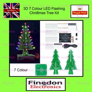 DIY 3D Christmas Xmas Tree 7 Colour LED Flashing PCB Kit Fun to Build UK Seller
