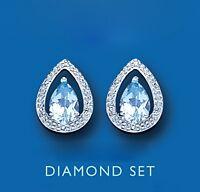 Blue Topaz and Diamond Earrings Sterling Silver Stud 925 Hallmark British made