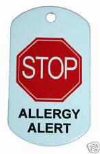 Personalised MEDICAL ALERT TAG Allergy tags bag ID key