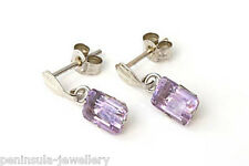 9ct White Gold Amethyst Dangly Earrings Boxed Made in UK Birthday Gift