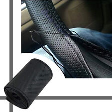 15'' DIY Leather Car Auto Steering Wheel Cover w/Needles&Thread Black