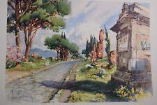 Vintage Aldo Raimondi Watercolor Print Roma Via Appia Antica