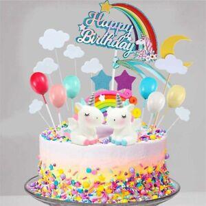 21pcs Unicorn Cake Topper Kit Cloud Rainbow Happy Birthday Banner Decoration AU
