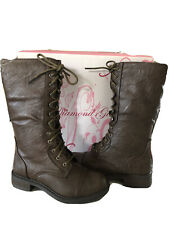 NIB Girls Brown Riding Lace Up Boots Youth 13