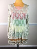 Anthropologie Ryu Womens Top Tunic Sheer Crochet Long Sleeve Beige Boho Size M L
