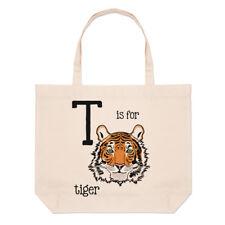 Lettere T è per Tigre Grande borsa con manico da Spiaggia - divertente animale