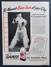 1944 Airedale Terrier Photo Gaines Dog Food Vintage Print Ad Art 1940s
