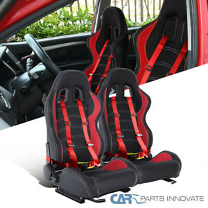 Left+Right Red PVC Leather White Stitch Racing Seats+Red 4PT Seat Belt Harnesses