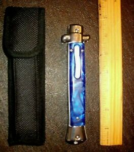 11'' hunting knife blue acrylic glazed handle excellent condition w/ belt case