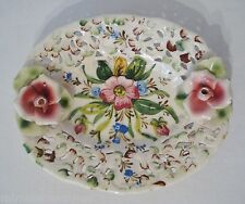 "Vintage Italian Art Pottery A. Borsato Pink Roses Blue Flowers 7"" Tray Plate"