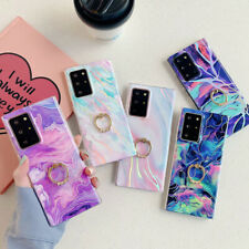 Case For Samsung S20 FE Note 20 Ultra S10 S9 Marble Silicone Ring Holder Cover