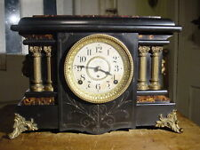 "ANTIQUE RARE SETH THOMAS 1900 ""TEXEL"" ADAMANTINE 4 COLUMN MANTEL CLOCK WORKING"