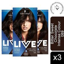 3x LIVE Bitter Sweet Chocolate (brown) Permanent Hair Dye, Intense Colour 089