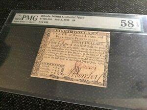 $8 Rhode Island Colonial Note Fr# R1-288 July 2, 1780, PMG