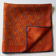 Terracotta Paisley Silk pocket square handkerchief 45cm. Hand rolled