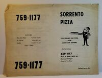Vintage Menu Sorrento Pizza 8017 Nine Mile Rd & Van Dyke Michigan family dining