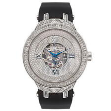 Joe Rodeo JJM71 Master Man Diamond Watch, Silver-Encrusted Dial with Black Band