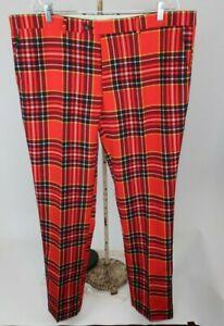 Men's Opposuits Red Tartan Golf Pants Polyester Size 42 X 33 Plaid