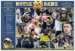 """NOTRE DAME FIGHTING IRISH 2021 19""""x13"""" PICTORIAL FOOTBALL SCHEDULE POSTER"""