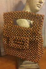 Vintage Purse DELILL ITALY BEAUTIFUL BROWN  HAND BEADED Lucite HANDBAG PRISTINE