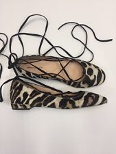 J.CREW LACE-UP FLATS IN LEOPARD CALF HAIR SIZE 6M F8474