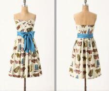 Anthropologie Maeve LEPIDOPTERA butterfly dress Sz 4, pockets, sash,  RARE! NWT