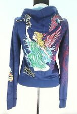 EUC ED HARDY CHRISTIAN AUDIGIER WOMEN'S jacket HOODIE Purple ANGEL Small S RARE!