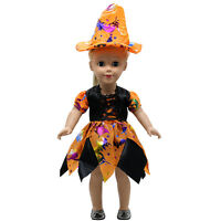 Hot~Halloween Clothes 18inch Doll Girl Outfits Dress Pumpkin Fashion Set Costume