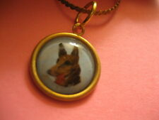 painted vintgage glass intaglio necklace German Shepard Dog Reverse carved and