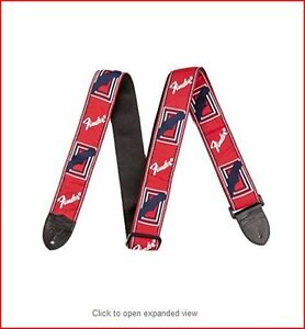 Genuine FENDER® RED GUITAR STRAP MONOGRAM LOGO WITH LEATHER ENDS - GIFT IDEA
