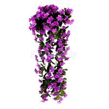 Fake Silk Violet Bush 80cm Hanging Basket Window Box Flowers-Aubergine