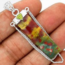 AAA Grade Bloodstone Heliotrope & Peridot 925 Sterling Silver Pendant Jewellery