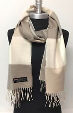 New Women's Winter Warm 100% Cashmere Scarf Wrap SCOTLAND Plaid Khaki Tan Cream