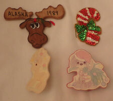 Lot of 4 Christmas Decorations Moose Ornament Wood 2 Precious Moments Candy Cane