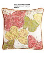 "Mackenzie Childs Butterflies & Tulip Check Pillow 16"" Sq - GUC - RETIRED - VHTF!"