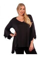 Womens CHARCOAL Gray Sharkbite Bell Sleeves Asym Top Yummy Plus Size 1X
