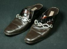 Ladies Brighton Twiggy Brown Leather And Croc Mules Style Shoes 7M