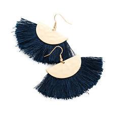 Matt Gold Coloured Navy THRED Tassel Drop Earrings Ladies Jewellery