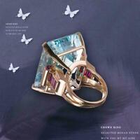 Emerald Aquamarine Diamond Solitaire Engagement Rose Gold Ring Top U3I4