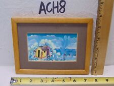 "VINTAGE SMALL 3"" X 5""  BRESIL PAINTING HAITIAN SEASIDE FOLK ART VILLAGE FRAMED"