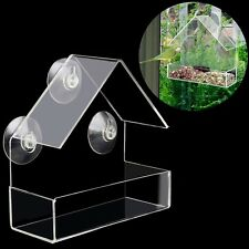 Clear House Window Bird Feeder Birdhouse With Suction Outdoor Garden Feeding New