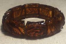 Antique Applejuice Bakelite Carved Floral Elastic Stretch Bracelet