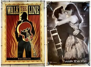 2 Theater WALK THE LINE MOVIE POSTERS RARE Double Sided 27x40 Inch  Johnny CASH