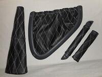 Smart fortwo 450 Leder Kit 5 Teilig schwarz weisse Nähte Diamant Muster Raute